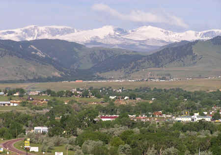 View of Buffalo, Wyoming at the foot of the magnificent Big Horn Mountains